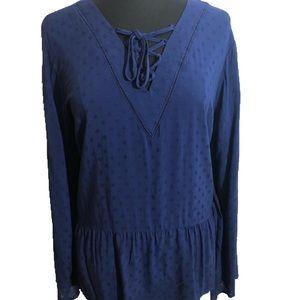 Lane Bryant Long Sleeve Blue Blouse Sz 16